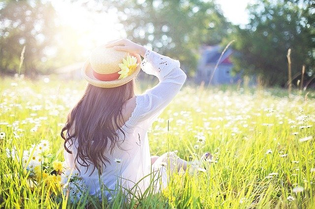 поле, травы, девушка